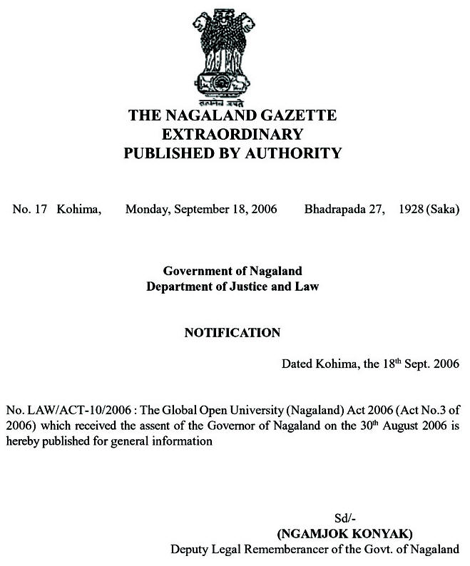 The global open university nagaland the nagaland government gazette extraordinary yelopaper Gallery