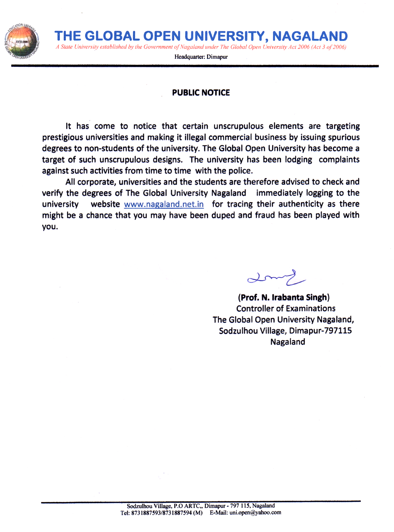 The global open university nagaland public notice for verification yadclub Gallery